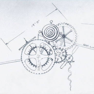 Drawing of The Industrial Machine by the artist, RTDavis