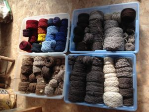 Natural, and dyed wool yarn