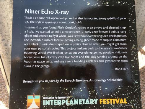 Niner Echo Xray information installed at Interplanetary Festival in Santa Fe NM.